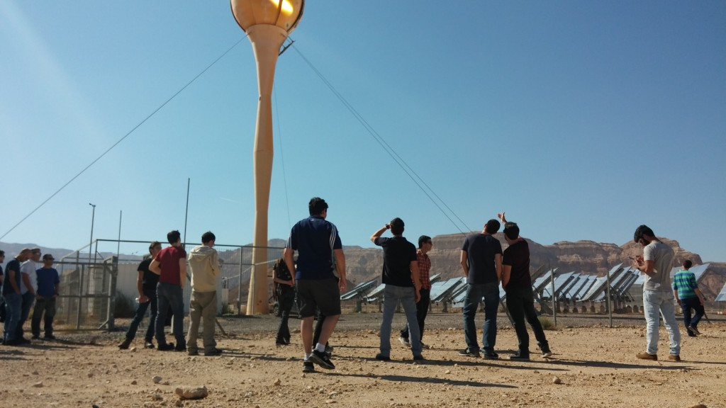 Afeka students at off-grid academic course tour to sun tower